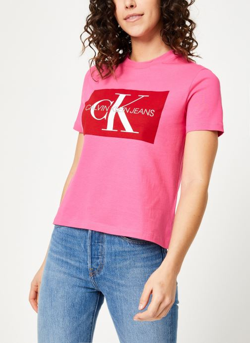 Kleding Calvin Klein Jeans Iconic Monogram Box Straight Tee Roze rechts