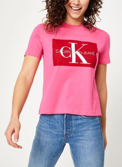 Kleding Calvin Klein Jeans Iconic Monogram Box Straight Tee Roze detail
