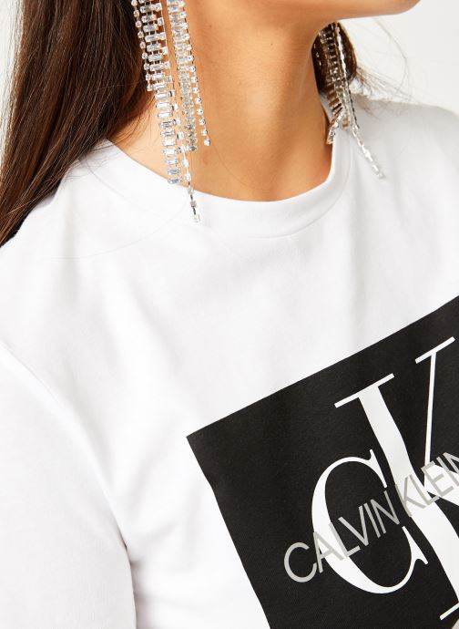 Vêtements Calvin Klein Jeans Iconic Monogram Box Straight Tee Blanc vue face