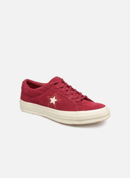 Sneakers Converse One Star Love in The Details Ox Vinröd detaljerad bild på paret