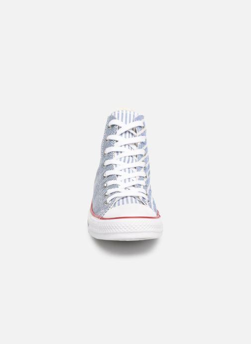 Baskets Converse Chuck Taylor All Star Multi Stripes Hi Bleu vue portées chaussures