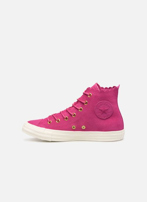 Baskets Converse Chuck Taylor All Star Frilly Thrills Hi Rose vue face