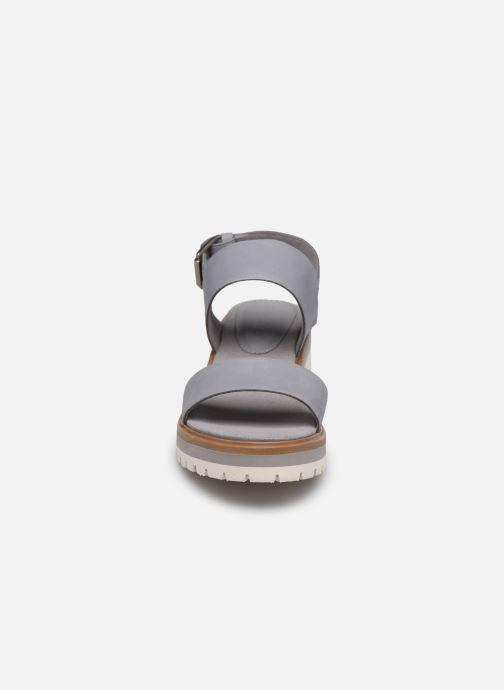 Sandalen Timberland Violet Marsh 2-Band Sandal grau schuhe getragen