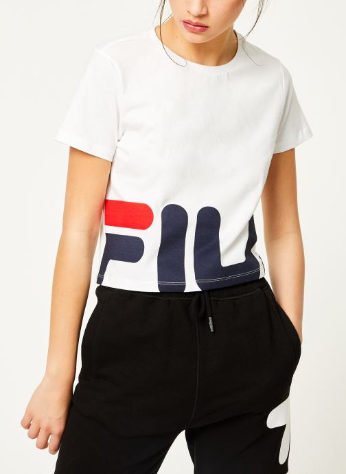 Vêtements FILA Early Cropped Tee Blanc vue droite