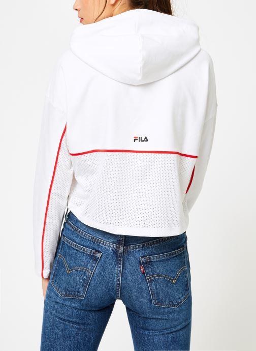 Vêtements FILA Romy Hooded Shirt Blanc vue portées chaussures