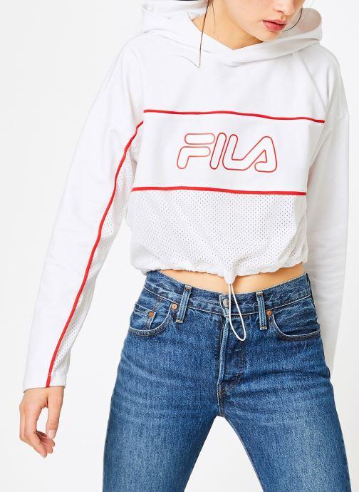 Vêtements FILA Romy Hooded Shirt Blanc vue droite