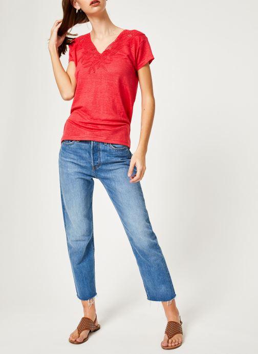 Vêtements IKKS Women 1 Tsh Mc Lin Bordeaux vue bas / vue portée sac