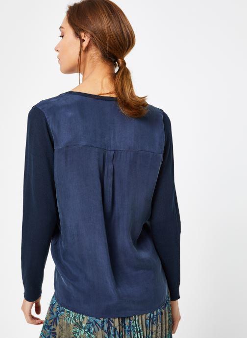 Vêtements IKKS Women 1 Pul Ml Bleu vue portées chaussures
