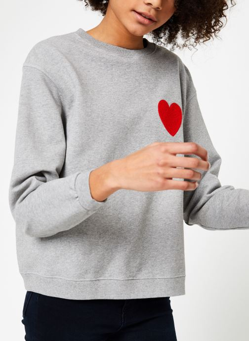 Kleding Cuisse de Grenouille SWEAT - HEART EMBROIDERY Grijs detail