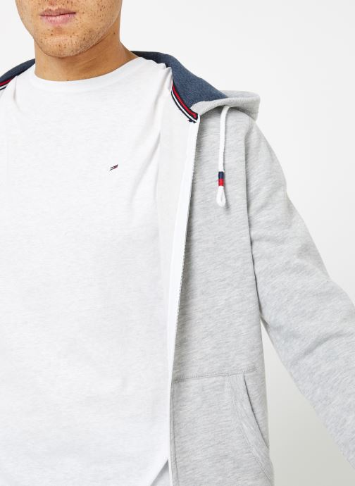 Vêtements Tommy Jeans TJM ORIGINAL ZIP HOODIE Gris vue face