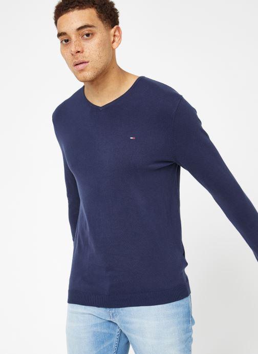 Vêtements Tommy Jeans TJM ORIGINAL V NECK SWEATER Bleu vue droite