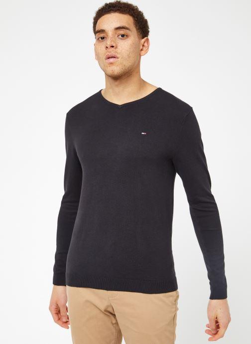 Vêtements Tommy Jeans TJM ORIGINAL V NECK SWEATER Noir vue droite