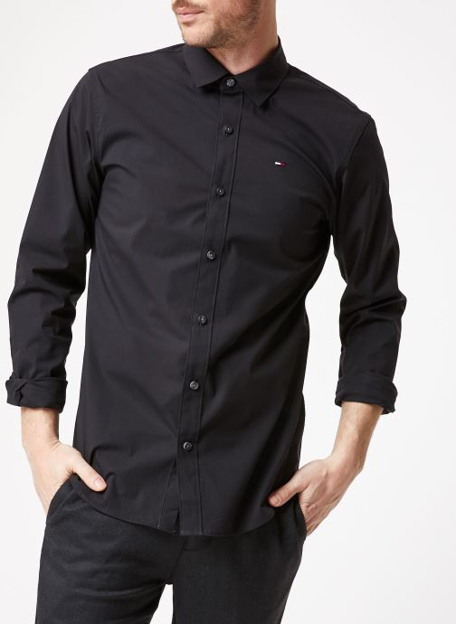 Vêtements Tommy Jeans TJM ORIGINAL STRETCH SHIRT Noir vue détail/paire