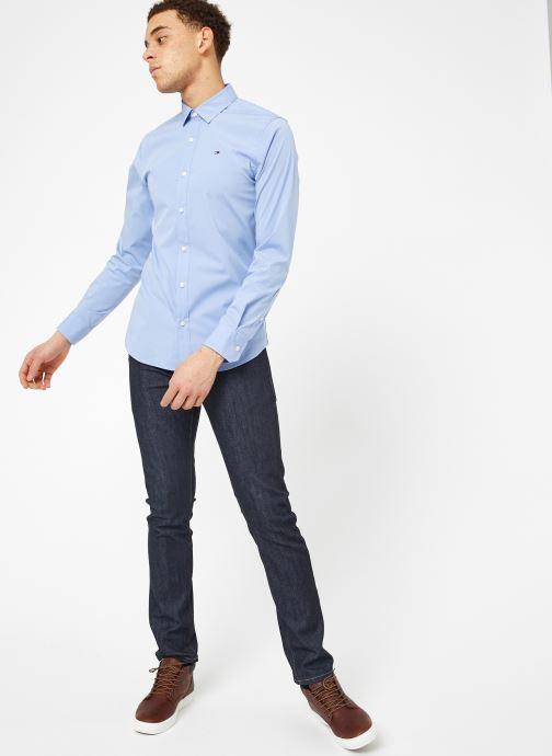 Vêtements Tommy Jeans TJM ORIGINAL STRETCH SHIRT Bleu vue bas / vue portée sac