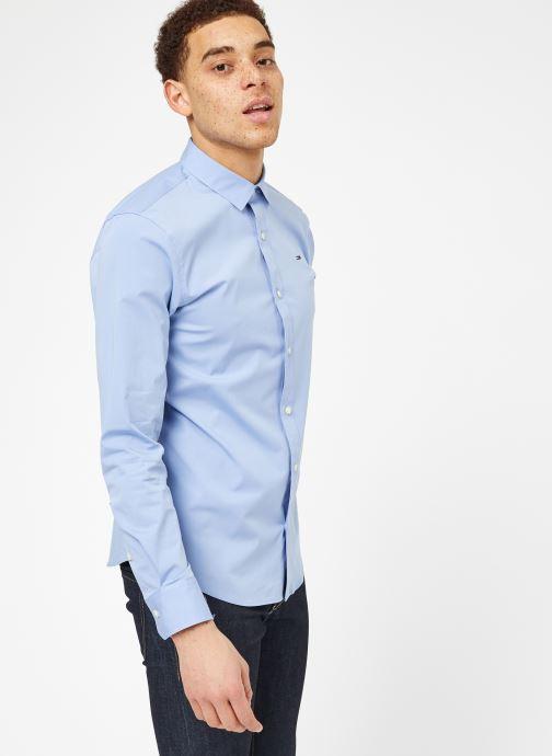 Vêtements Tommy Jeans TJM ORIGINAL STRETCH SHIRT Bleu vue droite