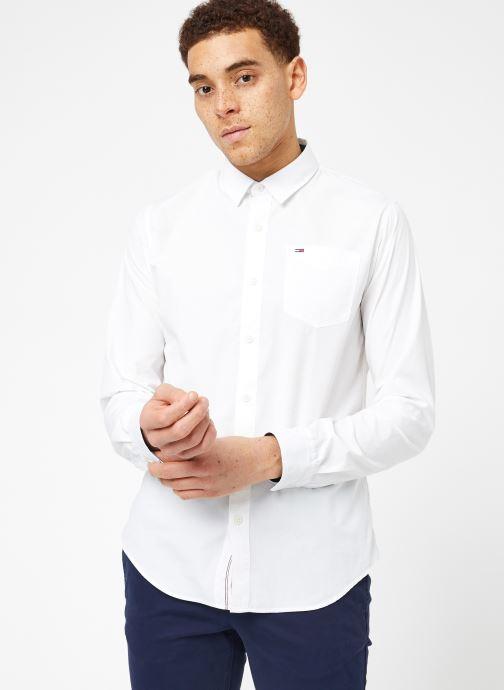 Vêtements Tommy Jeans TJM ORIGINAL END ON END SHIRT Blanc vue droite