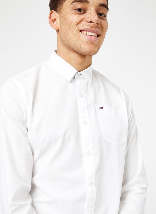 Vêtements Tommy Jeans TJM ORIGINAL END ON END SHIRT Blanc vue détail/paire