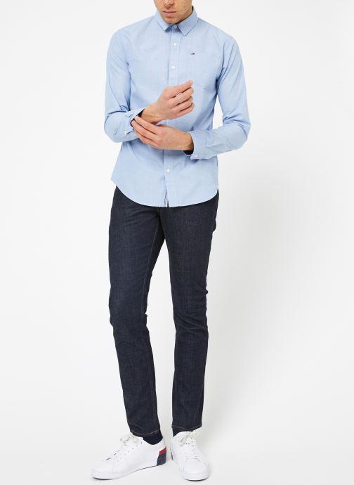 Kleding Tommy Jeans TJM ORIGINAL END ON END SHIRT Blauw onder