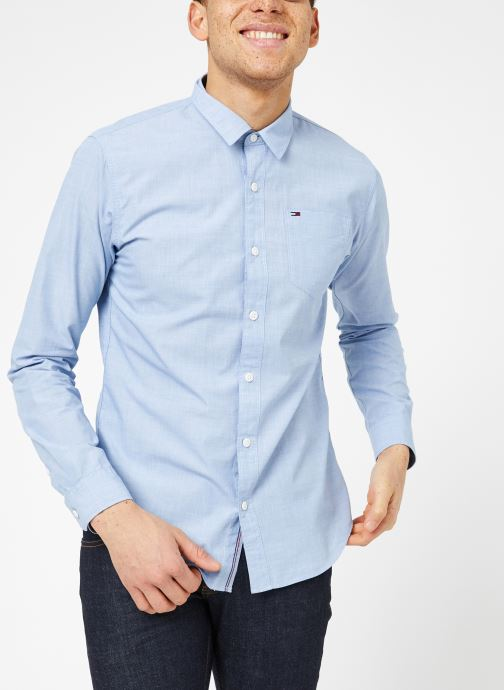 Vêtements Tommy Jeans TJM ORIGINAL END ON END SHIRT Bleu vue droite