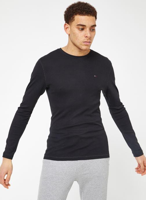 Tøj Tommy Jeans TJM ORIGINAL RIB LONGSLEEVE TEE Sort Se fra højre