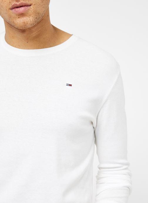 Tøj Tommy Jeans TJM ORIGINAL RIB LONGSLEEVE TEE Hvid se forfra