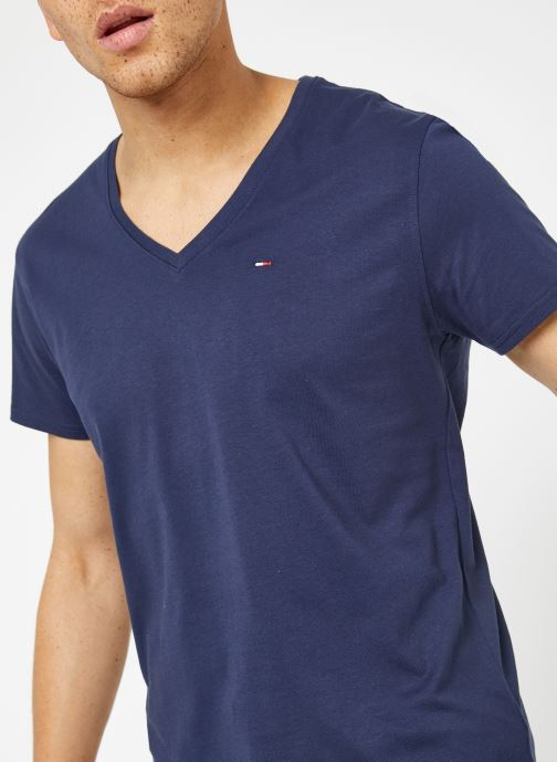 Vêtements Tommy Jeans TJM ORIGINAL JERSEY V NECK TEE Bleu vue face