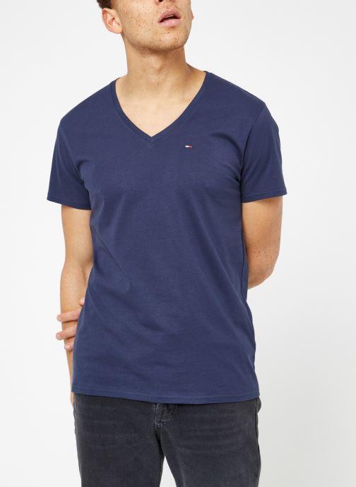 Vêtements Tommy Jeans TJM ORIGINAL JERSEY V NECK TEE Bleu vue droite