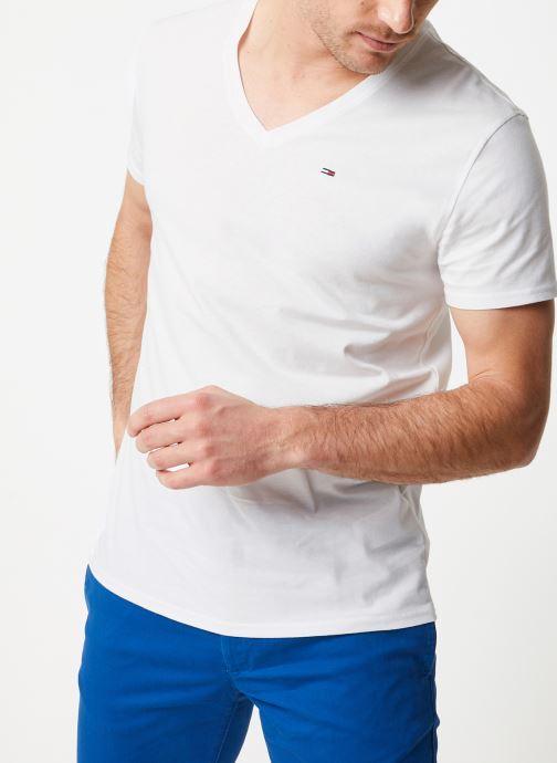 Vêtements Tommy Jeans TJM ORIGINAL JERSEY V NECK TEE Blanc vue droite