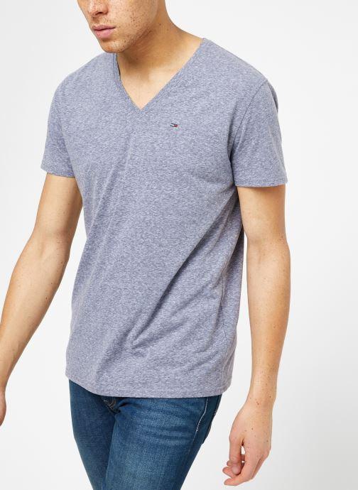 Vêtements Tommy Jeans TJM ORIGINAL TRIBLEND V NECK TEE Bleu vue droite