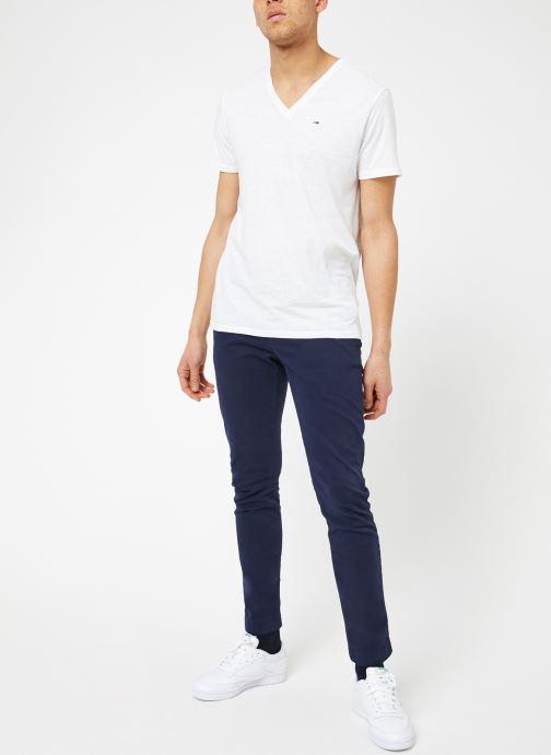 Vêtements Tommy Jeans TJM ORIGINAL TRIBLEND V NECK TEE Blanc vue bas / vue portée sac