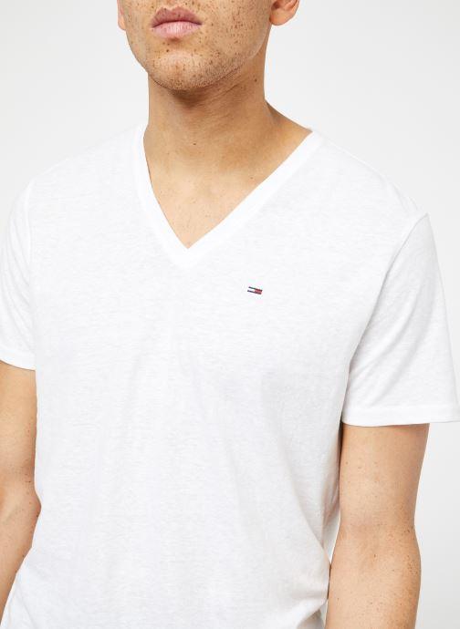 Vêtements Tommy Jeans TJM ORIGINAL TRIBLEND V NECK TEE Blanc vue face
