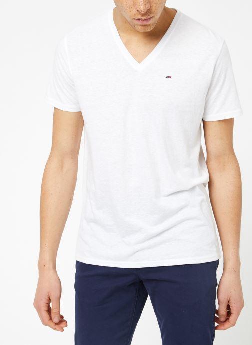 Vêtements Tommy Jeans TJM ORIGINAL TRIBLEND V NECK TEE Blanc vue droite