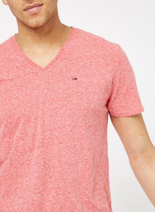 Tøj Tommy Jeans TJM ORIGINAL TRIBLEND V NECK TEE Pink se forfra