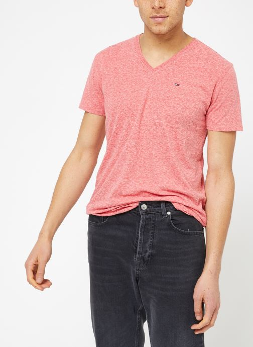Kleding Tommy Jeans TJM ORIGINAL TRIBLEND V NECK TEE Roze rechts