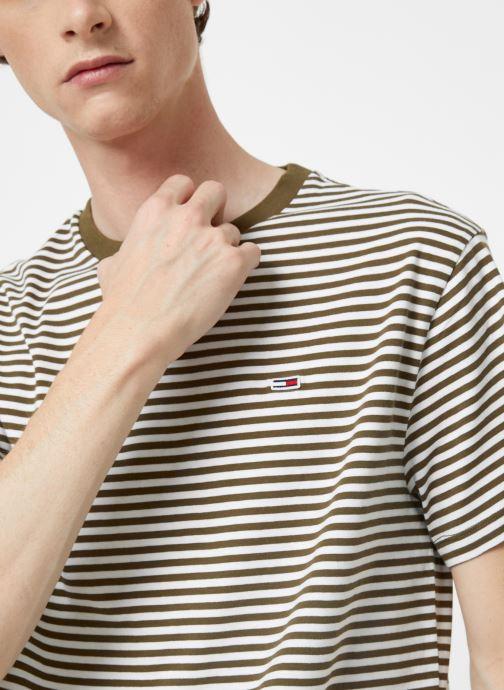 Vêtements Tommy Jeans TJM TOMMY CLASSICS STRIPE TEE Vert vue face