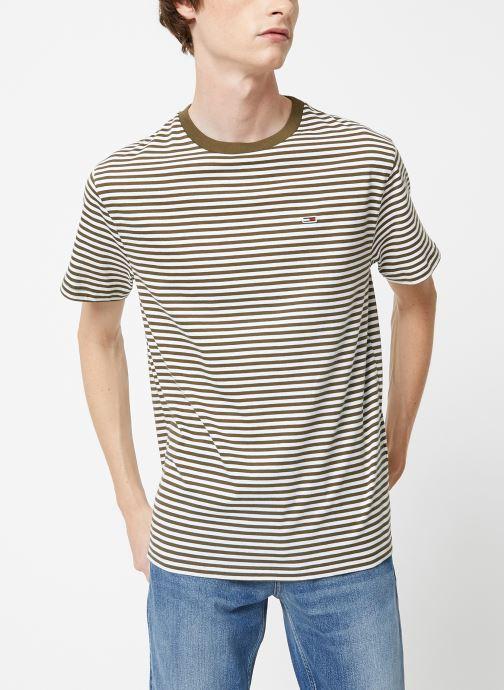 Vêtements Tommy Jeans TJM TOMMY CLASSICS STRIPE TEE Vert vue droite