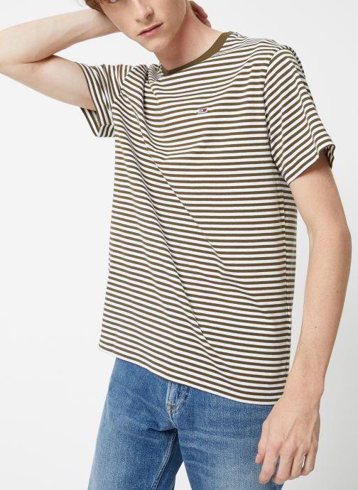 Vêtements Tommy Jeans TJM TOMMY CLASSICS STRIPE TEE Vert vue détail/paire