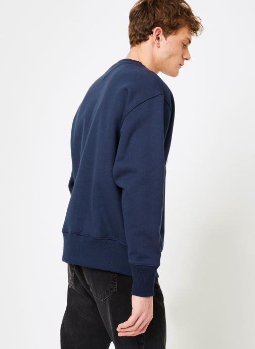 Vêtements Tommy Jeans TJM CLEAN COLLEGIATE CREW Bleu vue portées chaussures