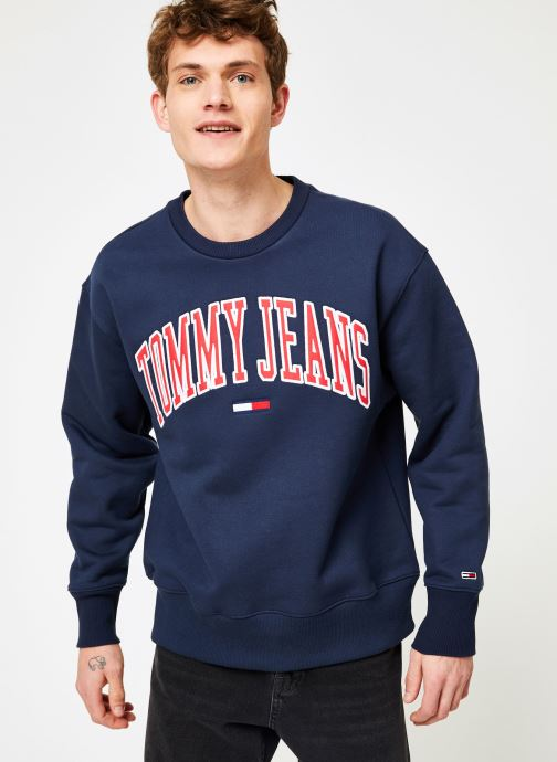 Vêtements Tommy Jeans TJM CLEAN COLLEGIATE CREW Bleu vue droite