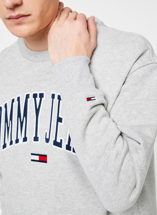 Vêtements Tommy Jeans TJM CLEAN COLLEGIATE CREW Gris vue face