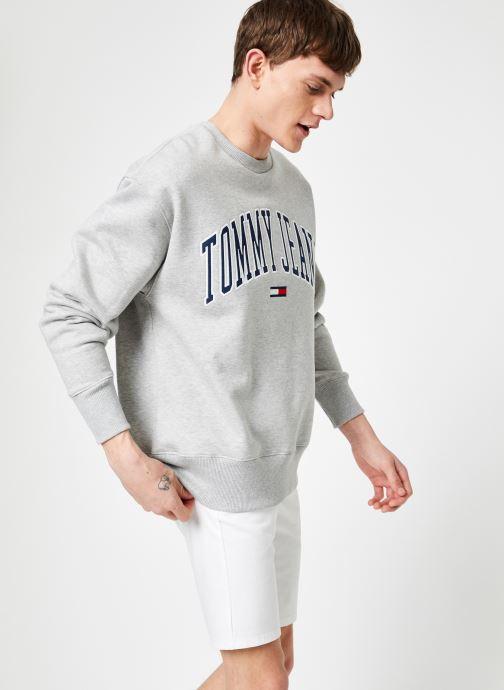 Vêtements Tommy Jeans TJM CLEAN COLLEGIATE CREW Gris vue droite