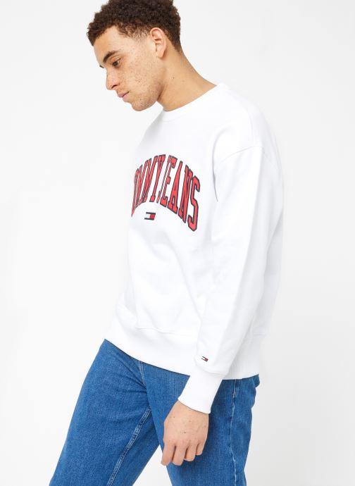 Vêtements Tommy Jeans TJM CLEAN COLLEGIATE CREW Blanc vue droite
