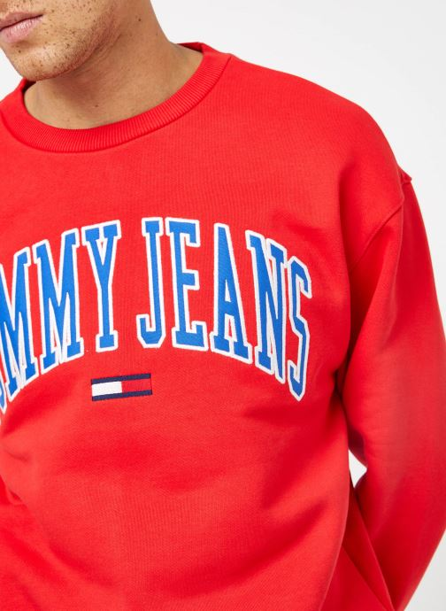 Tøj Tommy Jeans TJM CLEAN COLLEGIATE CREW Rød se forfra