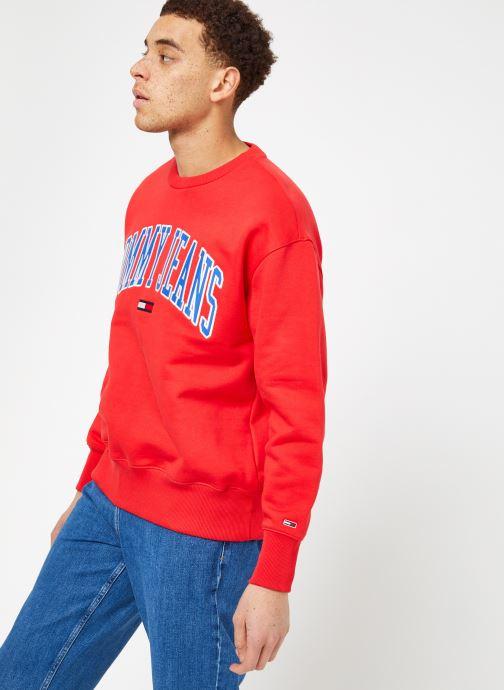Tøj Tommy Jeans TJM CLEAN COLLEGIATE CREW Rød Se fra højre