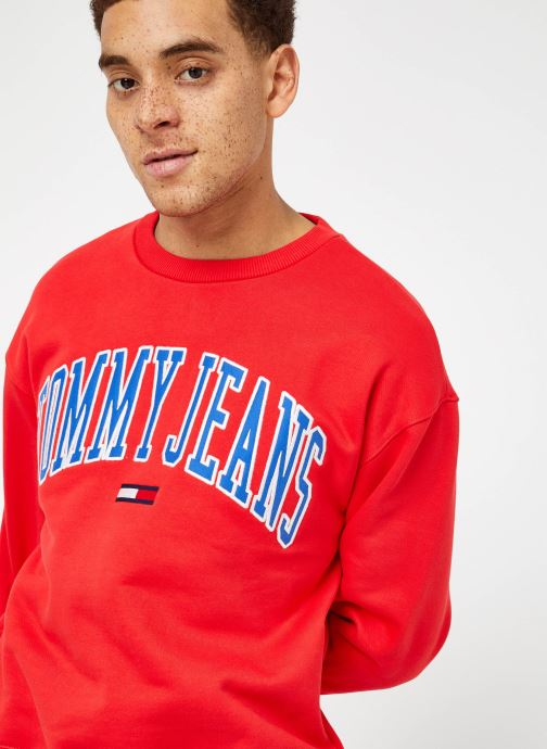 Kleding Tommy Jeans TJM CLEAN COLLEGIATE CREW Rood detail