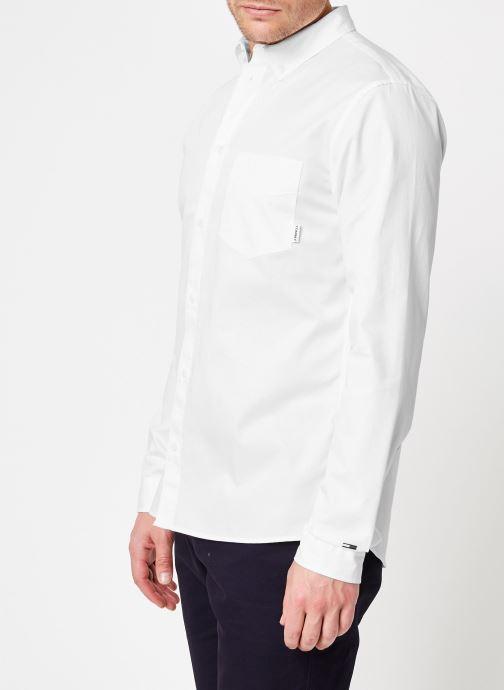 Vêtements Tommy Jeans TJM SOLID TWILL SHIRT Blanc vue droite