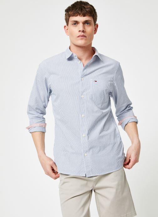 Vêtements Tommy Jeans TJM SEERSUCKER SHIRT Bleu vue détail/paire