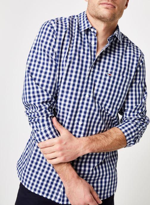 Vêtements Tommy Jeans TJM GINGHAM SHIRT Bleu vue détail/paire