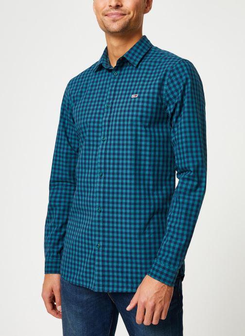 Vêtements Tommy Jeans TJM GINGHAM SHIRT Bleu vue droite