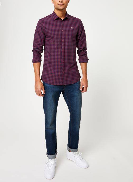 Vêtements Tommy Jeans TJM GINGHAM SHIRT Bordeaux vue bas / vue portée sac